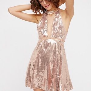 New Free People Rose Gold Sequin Halter Dress 8